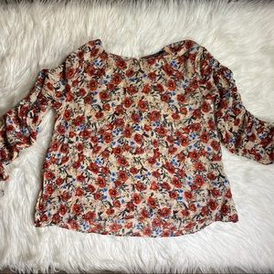 Zara floral chiffon ruched sleeve large